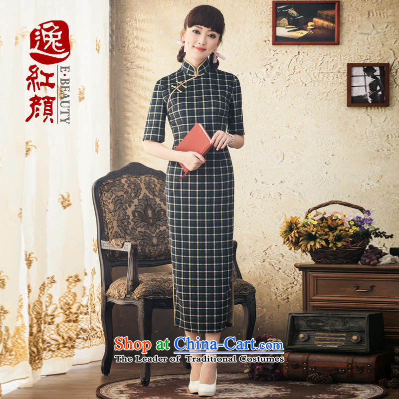 A Pinwheel Without Wind flow zhu yi) Sleeve length of daily qipao winter clothing Stylish retro skirts of the Republic of Korea improved qipao Doi green�L