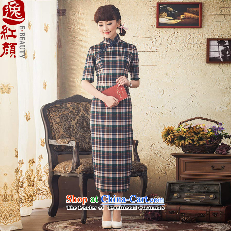A Pinwheel Without Wind flow following Long Yat) cuff retro qipao Fall/Winter Collections daily cheongsam dress improved new stylish blue�2XL