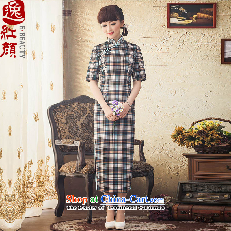 A Pinwheel Without Wind up a new escape of daily in long-sleeved qipao Fall_Winter Collections of nostalgia for the improvement of cheongsam dress stylish blue聽L