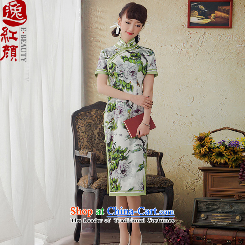 A Pinwheel Without Wind green-ri in silk cheongsam dress new long winter clothing improved herbs extract republic of korea qipao retro green�XL