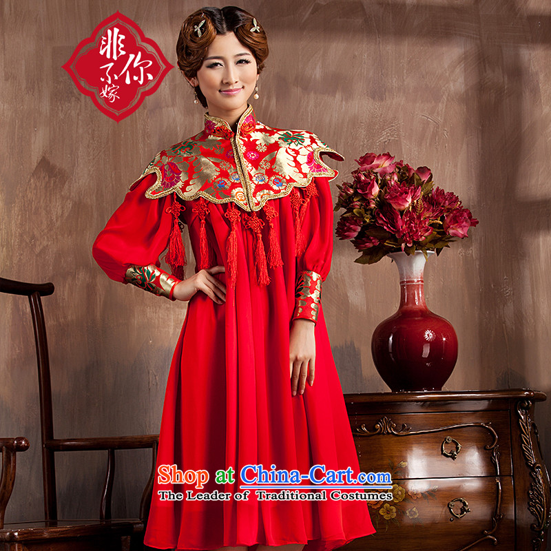 You do not marry non-Bride in the autumn 2015 New Service bows wedding red long gown of pregnant women Top Loin of large numbers of marriage qipao spring long-sleeved爏