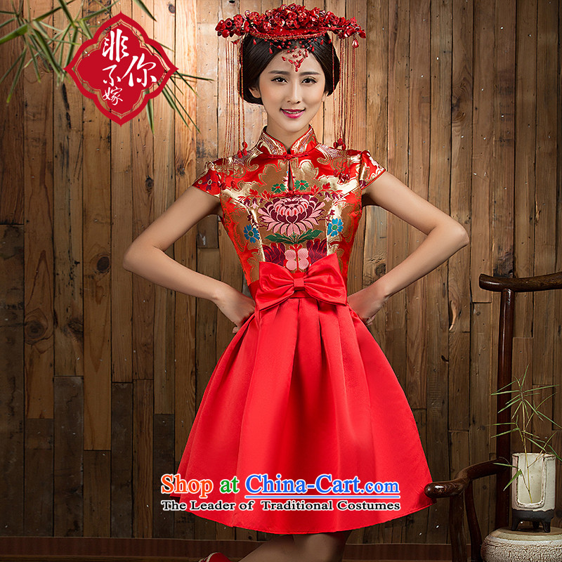Non-you do not marry 2015 NEW CHINESE CHEONGSAM with improved services bows wedding dress retro-clip collar dresses bow tie red wedding dress red L