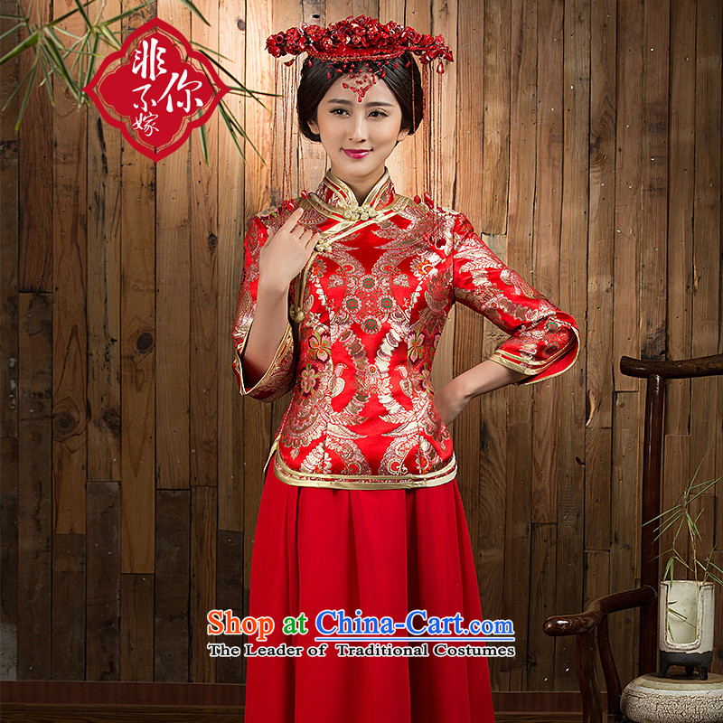 Non-you do not marry?2015 autumn and winter) married women cheongsam dress cotton long large retro bows services red?s