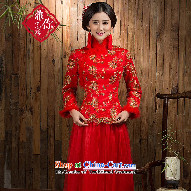Non-you do not marry?2015 autumn and winter new qipao gown lace bride Chinese spend long-sleeved clothing tick bows dress cotton door onto the folder the wedding dress long-sleeved red velvet?M