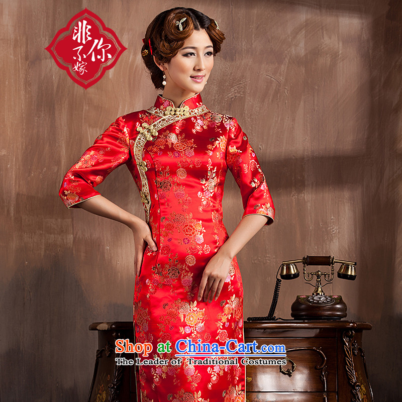 Non-you do not marry�15 new bride qipao Chinese wedding replacing seven retro cuff bows service long marriage Sau San dress female red爏