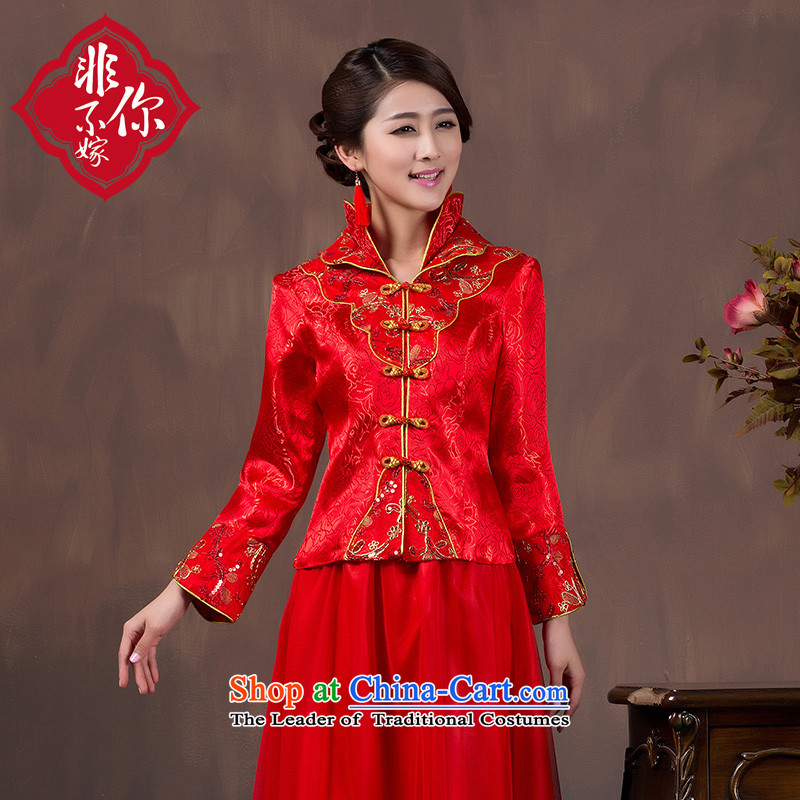 Non-you do not marry bows of autumn and winter clothing bridal dresses long-sleeved dresses red married long large retro collar back door onto 9 cuff thick?3XL_