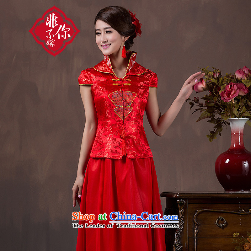 You do not marry non-boxed long-sleeved brides fall qipao marriage autumn and winter clothing improved Chinese long bows stylish wedding dress short-sleeved red�L