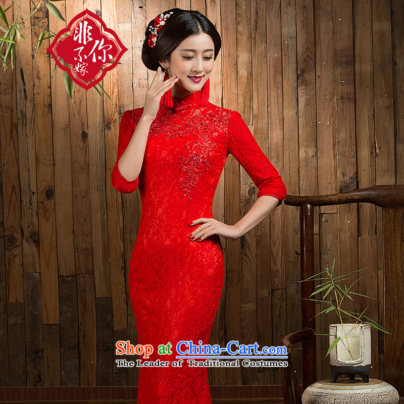 Non-you do not marry wedding dress bride bows Services New 2015 Autumn cheongsam with retro improved long crowsfoot cheongsam red XL