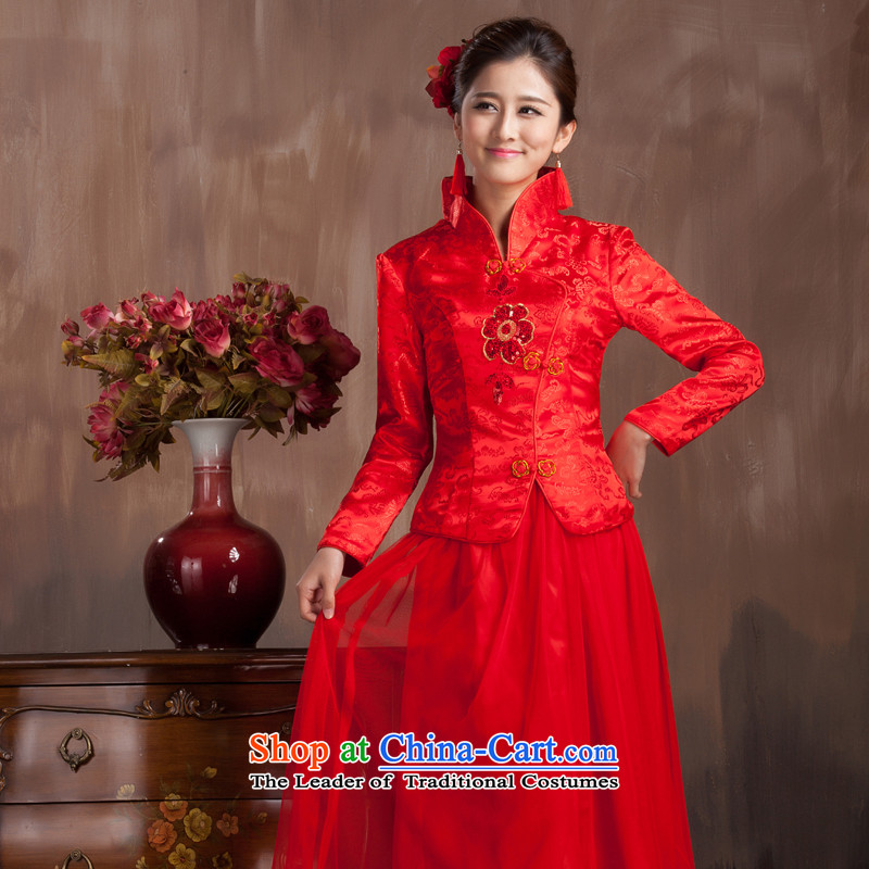 You do not marry non-married autumn long serving toasting champagne cheongsam dress Chinese bride red retro elegant wedding dresses large long-sleeved thin, s