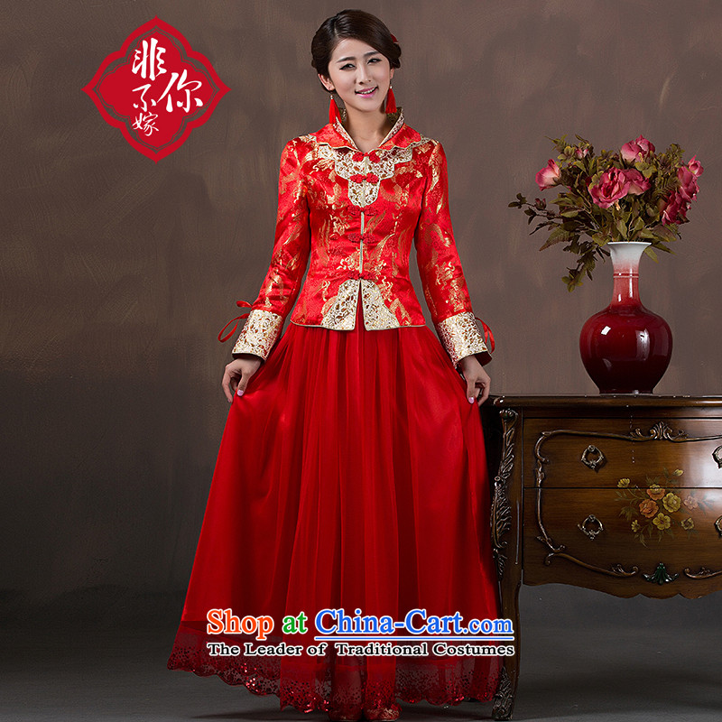 Non-you do not marry 2015 autumn and winter new cheongsam with dual LED damask Chinese wedding dress long-sleeved insets bows to retro-thick back door onto thick_ 4XL