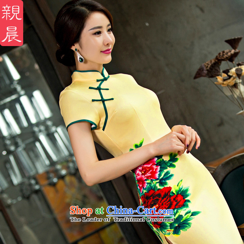 Morning Daily the summer and fall of pro-retro improved Ms. Aura long wedding dresses cheongsam dress etiquette gift clothing long S-waist 67cm