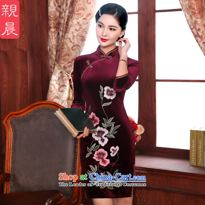 The elections as soon as possible the new 2015 pro-am, daily during the spring and autumn decorated in antique wedding banquet in older MOM pack dresses qipao short of?80 cm waist 2XL-