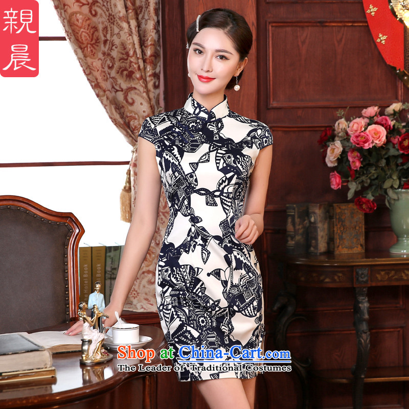The elections as soon as possible the summer morning daily pro-improved Stylish retro look like Ms. dresses cheongsam dress Tang dynasty dress etiquette,?S-waistline clothing short 67cm