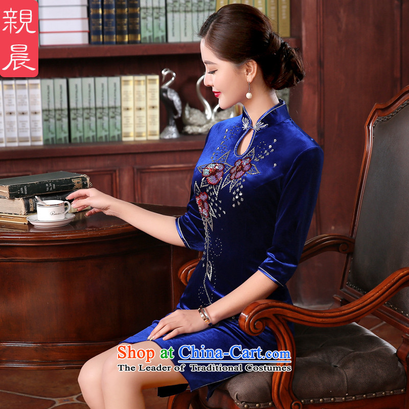 The pro-am Kim scouring pads in the mother in the cuff of older women wedding dress temperament wedding wedding dresses cheongsam dress short,燲L-waist 77cm Hold
