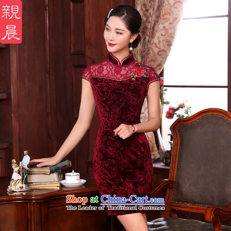 The spring and autumn of the pro-am daily mother wedding banquet with stylish retro elderly improved dresses cheongsam dress short,燣-waist 73cm