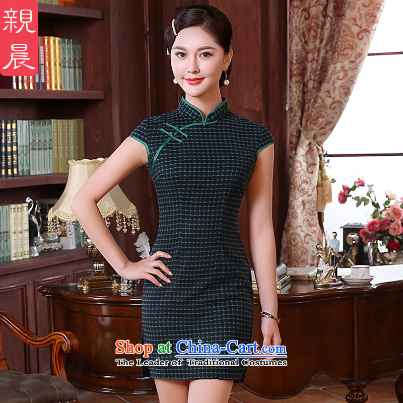 Morning daily during the spring and autumn, pro-nature of nostalgia for the improvement of Ms. stylish girl dresses cheongsam dress short of wedding banquet 2XL- waist 80 cm