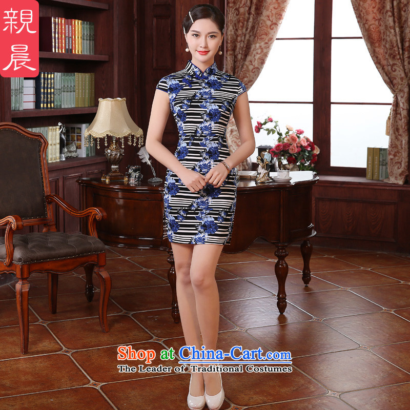 �� pro-am- 2015 new summer daily retro improvement of traditional short period of Sau San qipao skirt dresses short of?80 cm waist 2XL-
