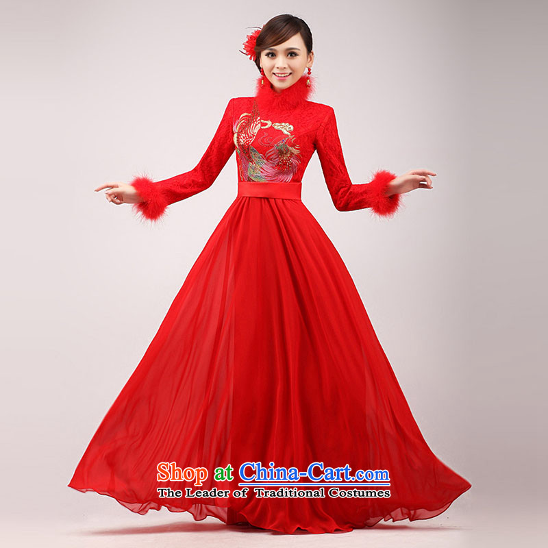The knot true love marriages bows services 2015 new cheongsam red clip cotton long long-sleeved qipao Chinese improved Winter Female Red Hair for?S