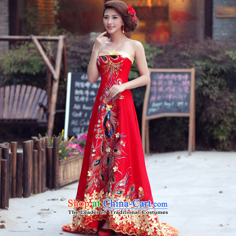 Marriages bows services 2015 new wedding dresses Phoenix tail dress long long skirt evening dress Winter Female gold straps)�S