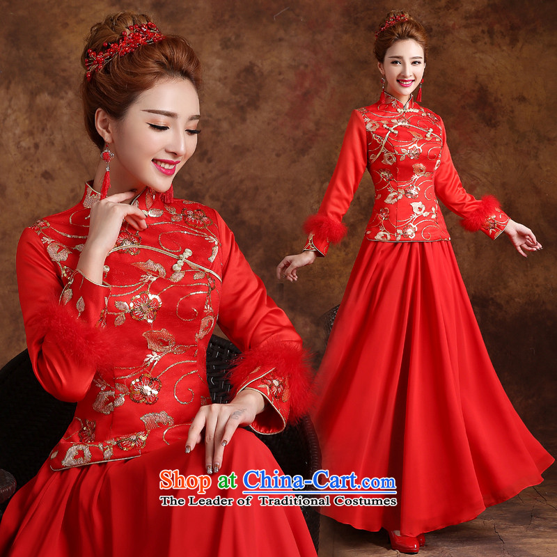The knot true love marriages bows qipao 2015 New Service long long-sleeved retro style improvement dress marriage for winter red?XL