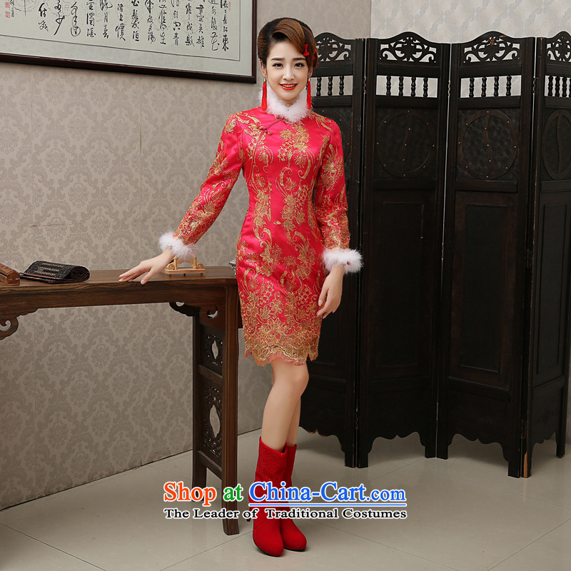 The bride stylish bows services 2015 new red qipao short, long-sleeved retro improved marriage evening dress for winter red bows service燬