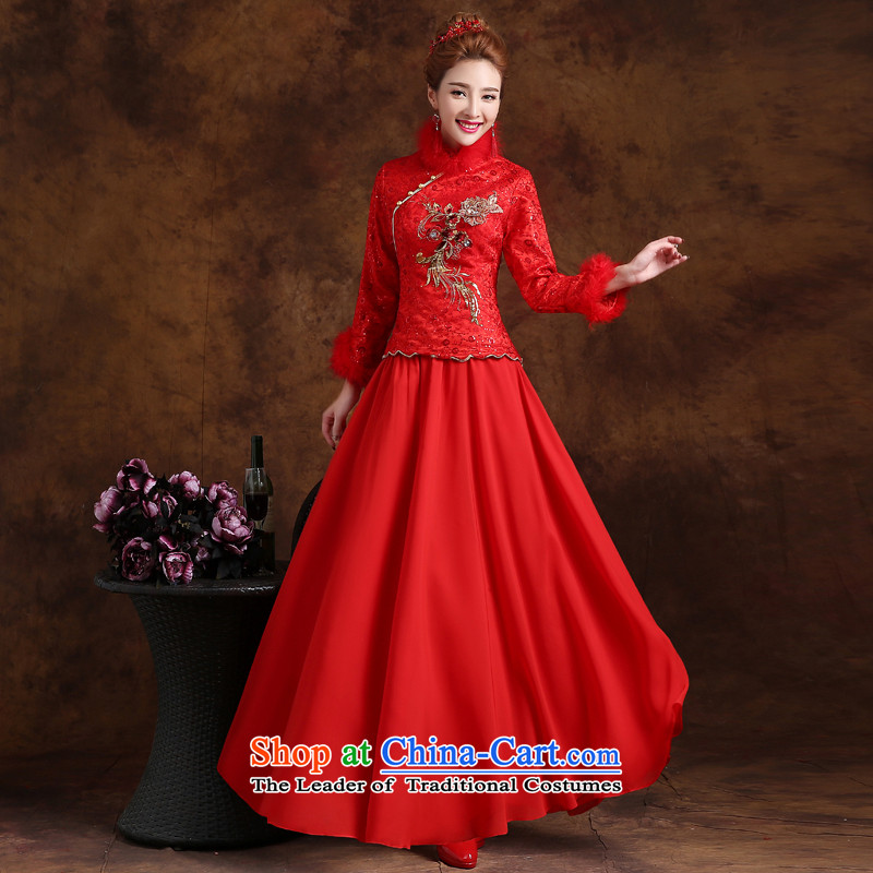 The knot true love winter clothing Bridal Fashion 2015 followed the new Red Dress long-sleeved Chinese qipao marriage for winter jackets long red?M