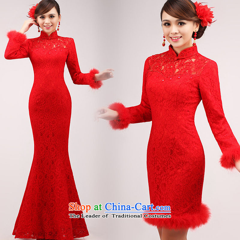 The knot true love marriages bows services 2015 New Red Dress Short, Long-sleeved stylish large qipao video thin Winter Female Red long?L