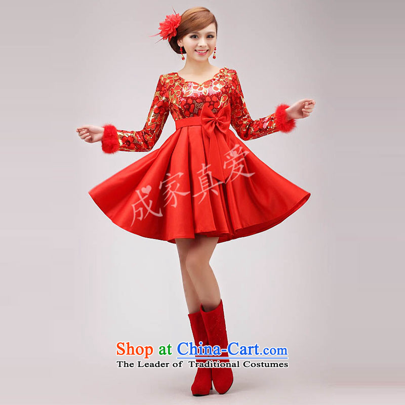 The knot true love marriages bows services 2015 new wedding dresses, short long-sleeved red Top Loin of qipao pregnant women for winter RED燤