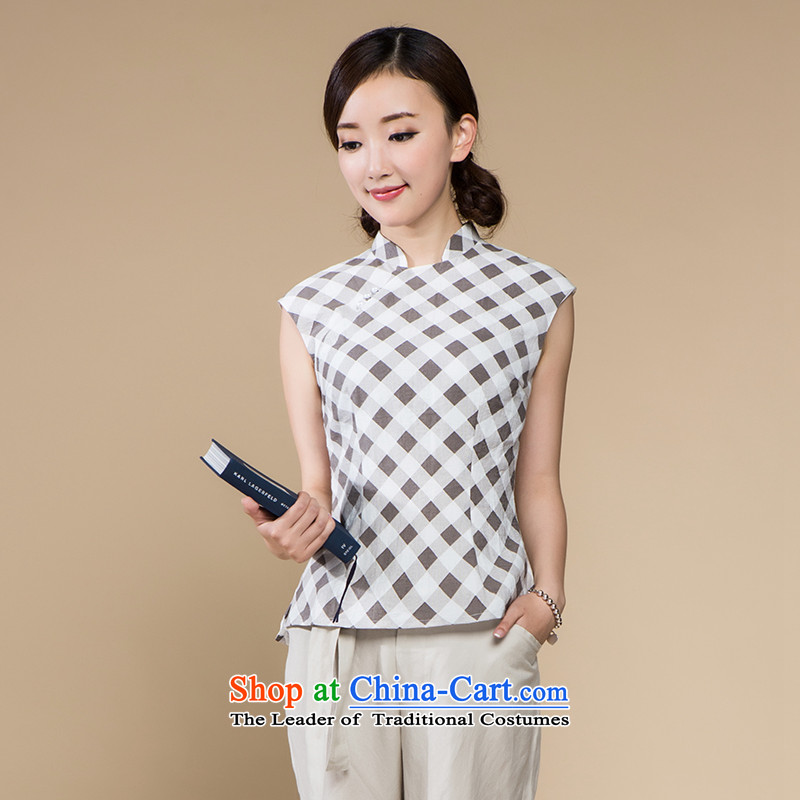 A Pinwheel Without Wind Yat old discriminations cotton linen clothes improved female Tang dynasty summer China wind Tang Dynasty Chinese style of ethnic light gray S