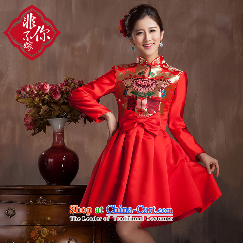 Non-you do not marry�14 bride red qipao bows to the winter long-sleeved folder back to the door wedding dress cotton red燣