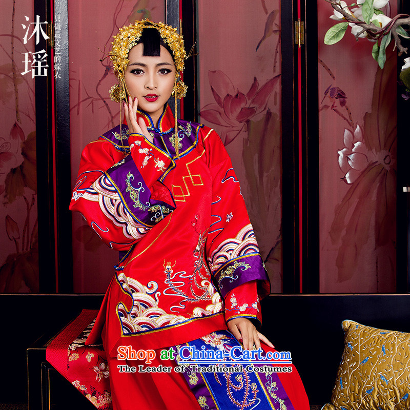 Bathing in the MS CYD Wo Service 2 piece long-sleeved long collar is traversed by the spring of 2015, the new bride men and women ancient Chinese style wedding with Hu Jing pregnant women fall and winter women women M code chest 104CM