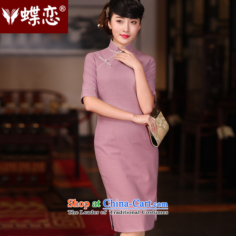Butterfly Lovers 2015 Autumn New_ retro long cotton linen cheongsam dress stylish improvement cuff 51217 qipao daily purple燬