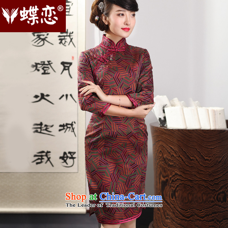The Butterfly Lovers in the autumn of 2015, replacing the new improved Silk Cheongsam Fashionable dresses retro-YUN LONG SLEEVES cheongsam 51225 geometry燤