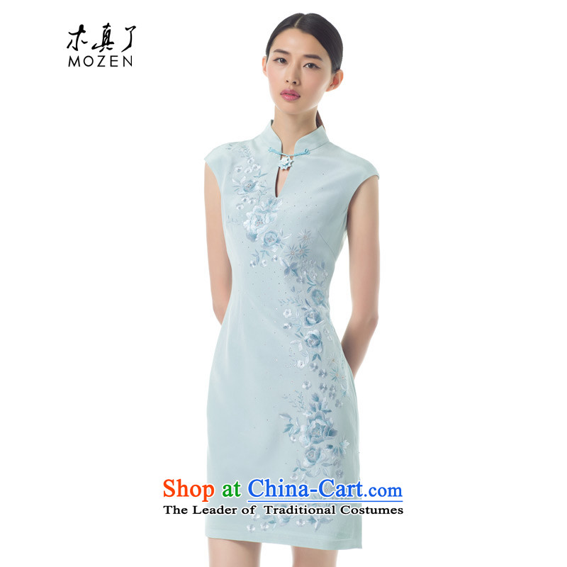 The Tang Dynasty outfits wood really Summer 2015 new products Chinese silk embroidery cheongsam dress stylish dress 42945 11 Blue燤
