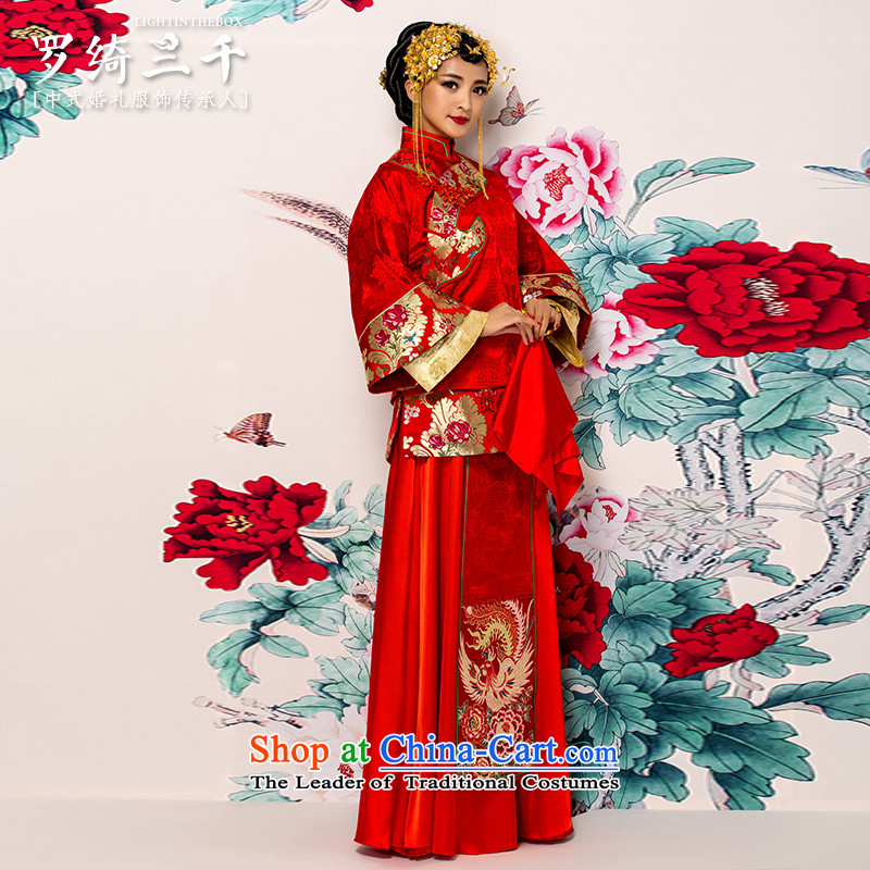 Bathing in the Chinese bows services-soo Yiu Wo Service 2 piece long-sleeved long collar ramp up long skirt the dragon use to align the large Foutune of pregnant women use the dragon-soo and 2 piece red燣 bathing in the exclusive Yao-finishing dressing