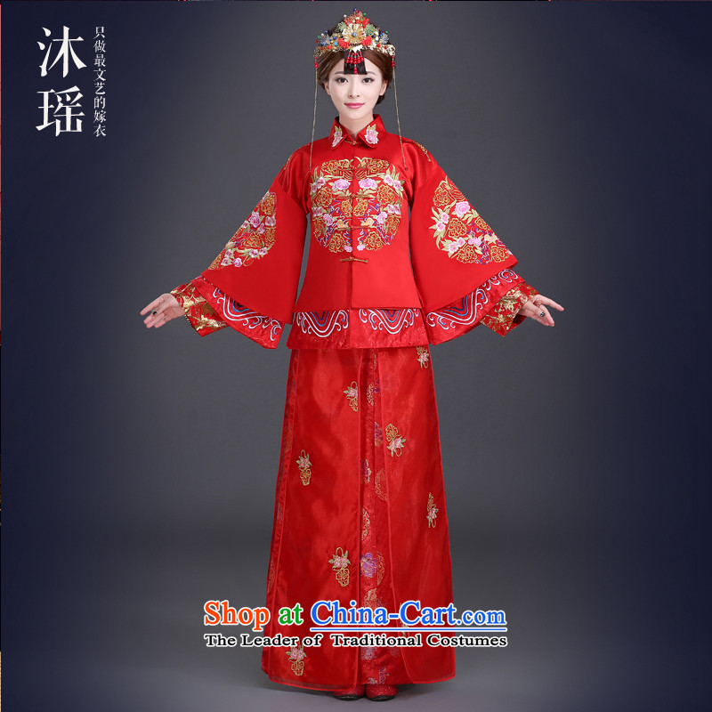 Bathing in the Chinese bows services-soo Yiu Wo Lung marriage solemnisation services use long long-sleeved costume sleeves welcome-soo and wedding bride into wine served long large Foutune of pregnant women RED M chest ACTION PUMP INCORPORATES 96CM