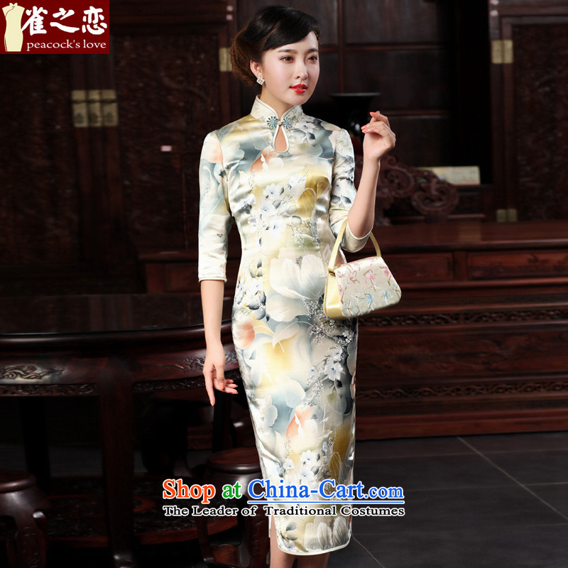 Love of birds when the?2015 Spring New however improved stylish 7 cuff retro long silk cheongsam dress pastel colors?XL