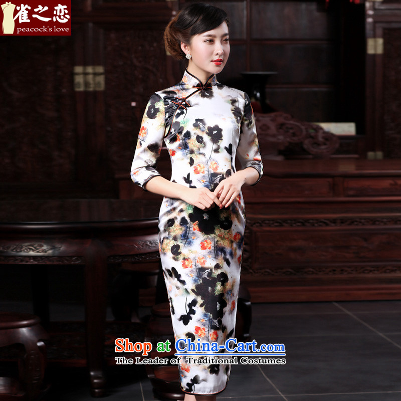 Love of birds everywhere in the world of the爊ew spring 2015 micro, qipao dresses improved stylish seven long-sleeved retro Silk Cheongsam ink燲XL