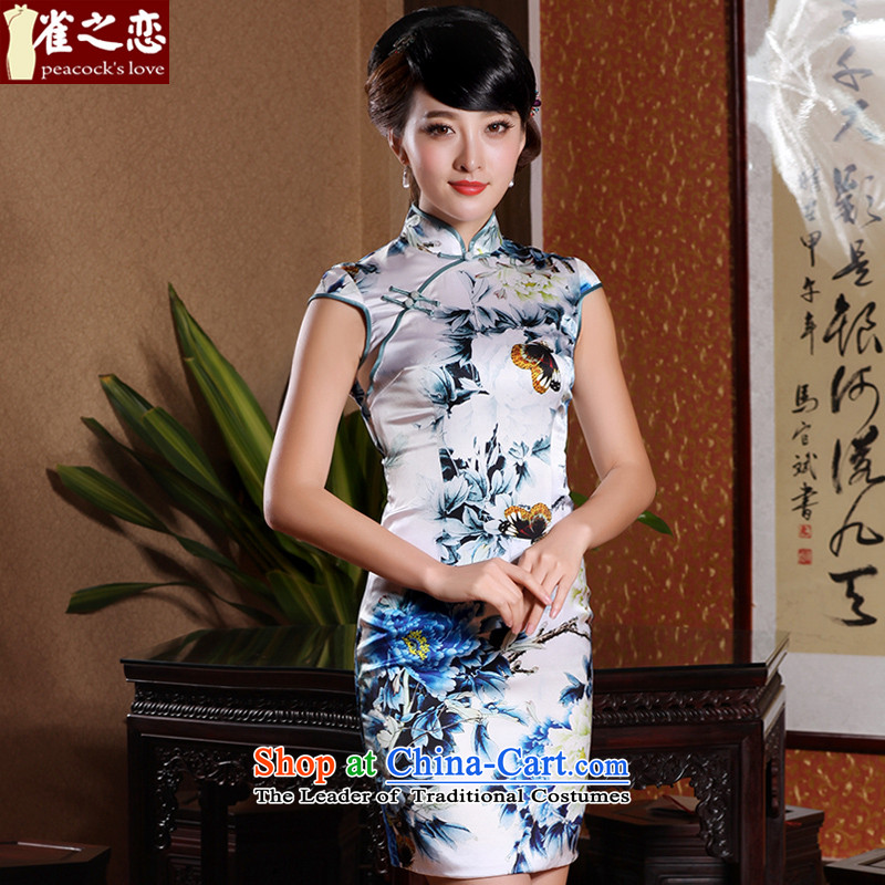 Love Poetry Of birds so?2015 Summer new improved stylish heavyweight Silk Cheongsam Blue on white flowers daily?XL