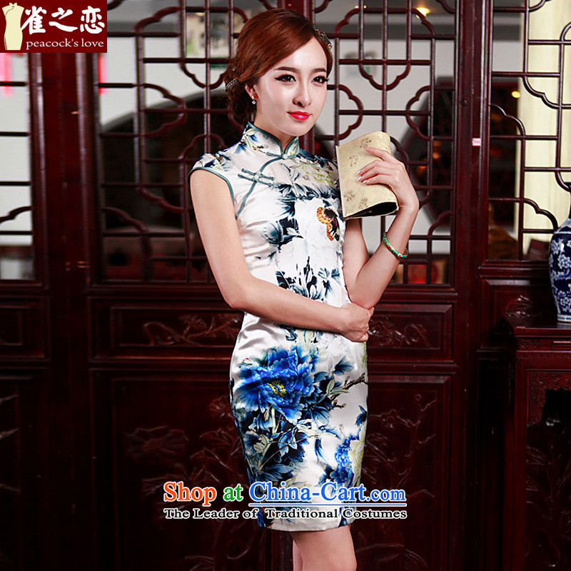 Love Poetry Of birds so聽2015 Summer new improved stylish heavyweight Silk Cheongsam Blue on white flowers daily聽XL, love of birds , , , shopping on the Internet