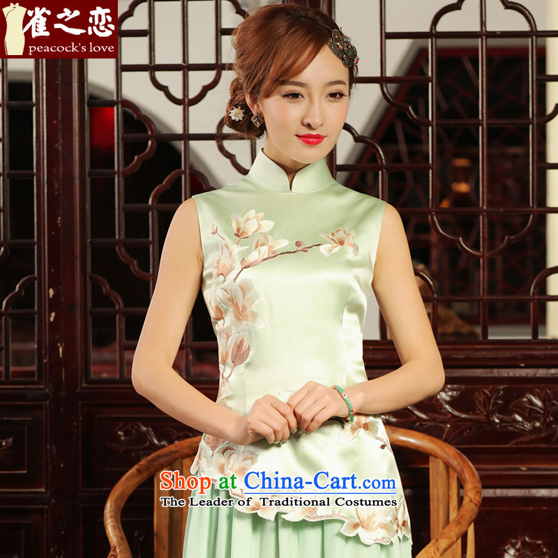 Love of birds stayed in?2015 Summer pretty shadow new Stylish retro heavyweight silk embroidery cheongsam shirt light green?XL