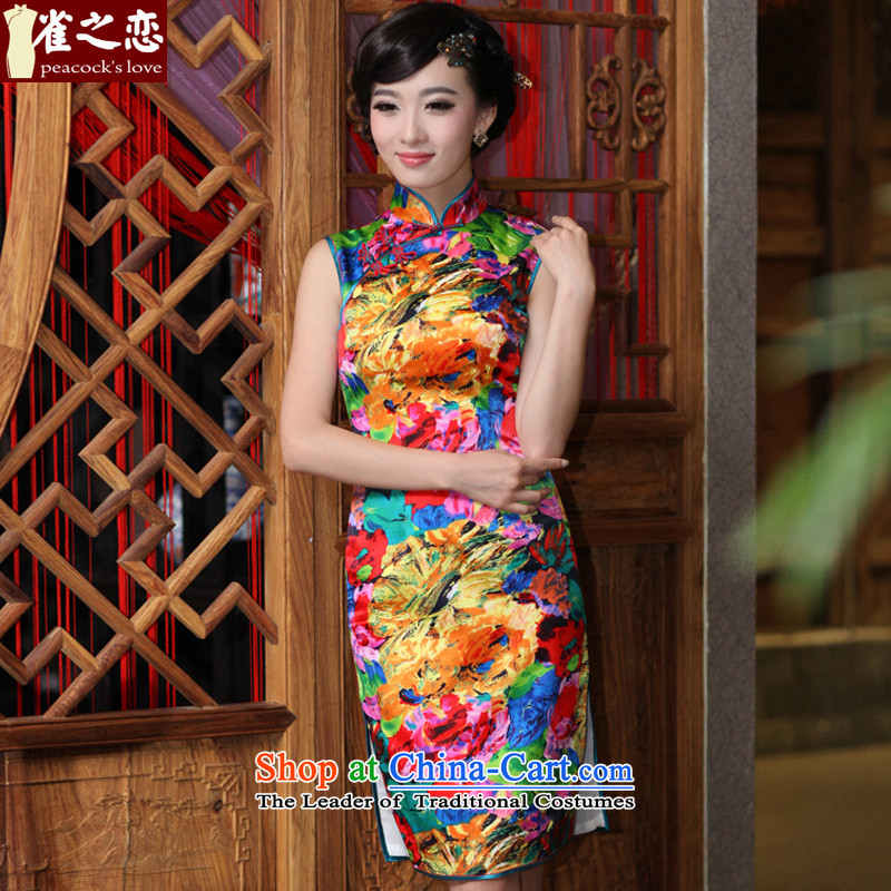 Love of birds, heavyweight silk cheongsam dress improved Stylish retro qipao燪D183 sleeveless爌aintings燲XL