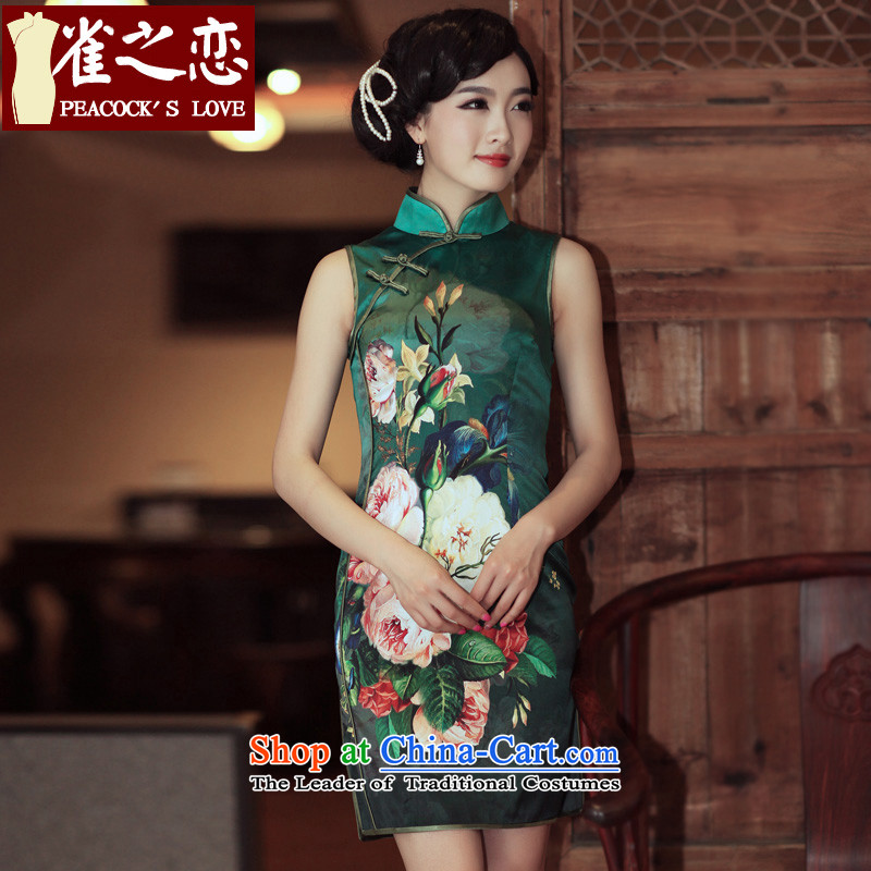 Love of birds pickup Summer?2014 Summer herbs extract sleeveless short, Retro Silk Cheongsam QD301 S