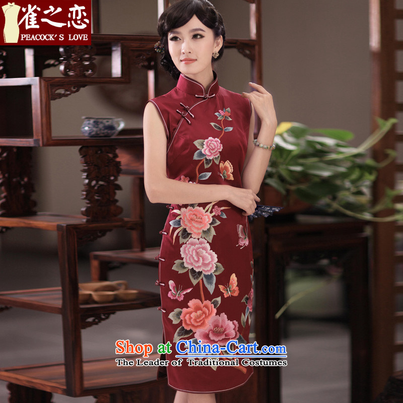 The birds she letter?2014 new classical style manually push embroidered heavyweight Silk Cheongsam?QD350 XL