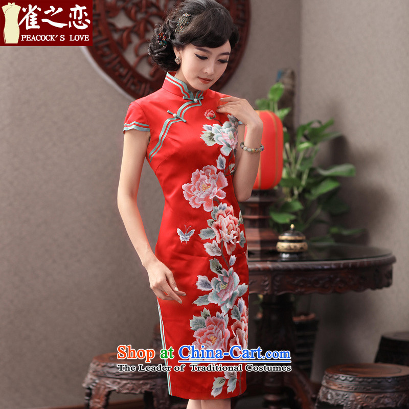 Love of birds q mirror the?new 2014 retro elegant heavyweight Silk Cheongsam red wedding dresses QD353 L