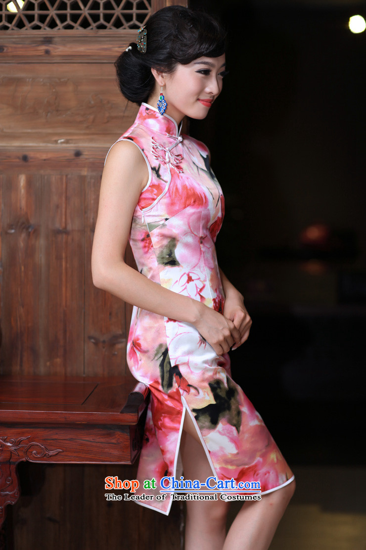 Love of birds flowers trace heavy Silk Cheongsam improved stylish facade of lotus flowers daily short of Silk Cheongsam pink聽XXL picture, prices, brand platters! The elections are supplied in the national character of distribution, so action, buy now enjoy more preferential! As soon as possible.