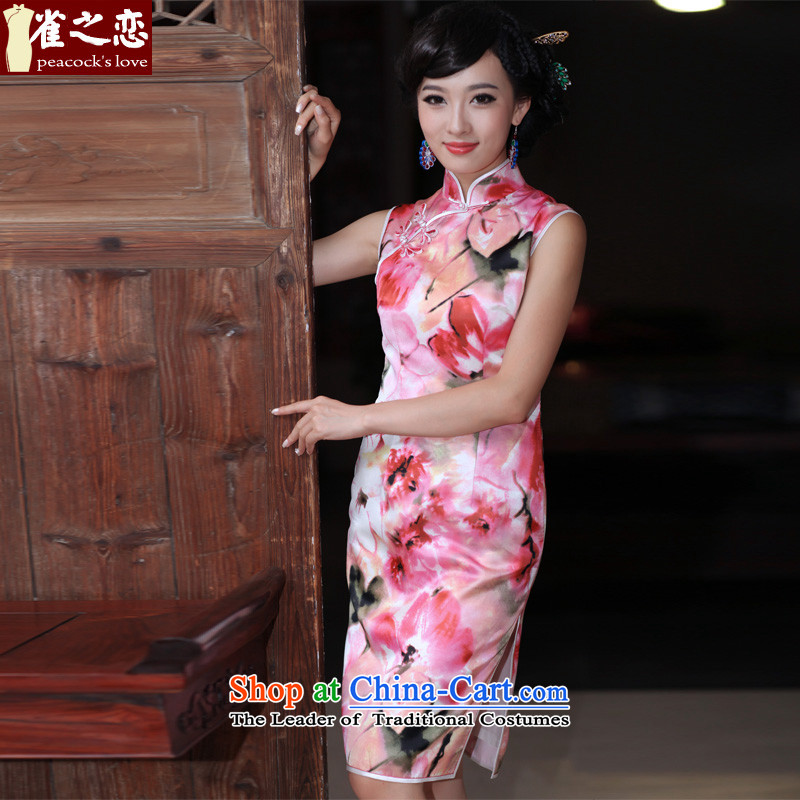 Love of birds flowers trace heavy Silk Cheongsam improved stylish facade of lotus flowers daily short of Silk Cheongsam pink?XXL