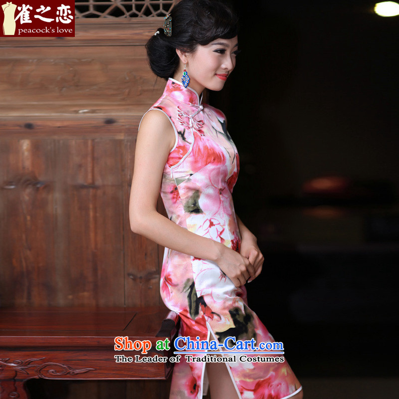 Love of birds flowers trace heavy Silk Cheongsam improved stylish facade of lotus flowers daily short of Silk Cheongsam pink聽XXL, love birds , , , shopping on the Internet