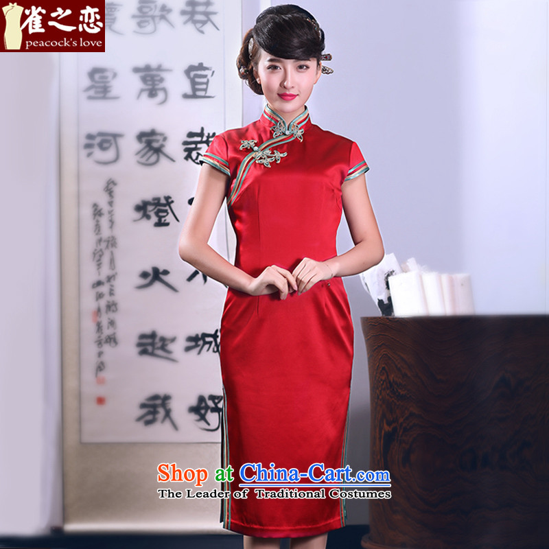 Love of birds comforted by the?spring 2015 also new 2 Side of tray clip heavy manual Silk Cheongsam QD666 RED?XXL
