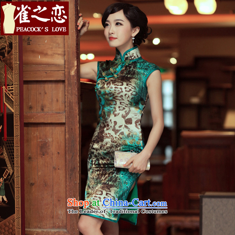 Love of birds Unmelted Deep Love birds land?2015 spring/summer short of improved Silk Cheongsam?QD269 Leopard?as figure?L-pre-sale 7 Days